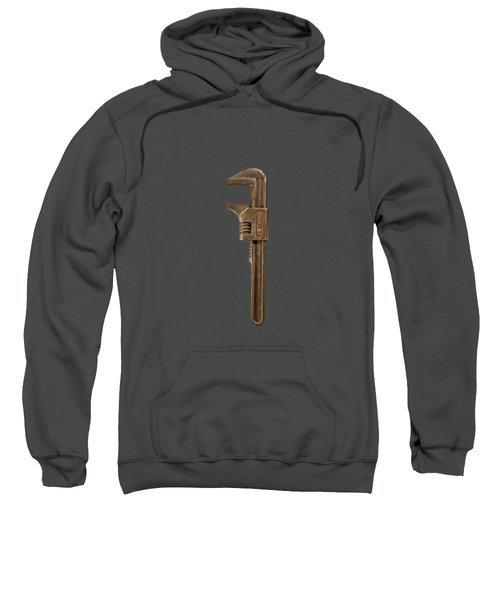 Antique Adjustable Wrench Front On Black Sweatshirt