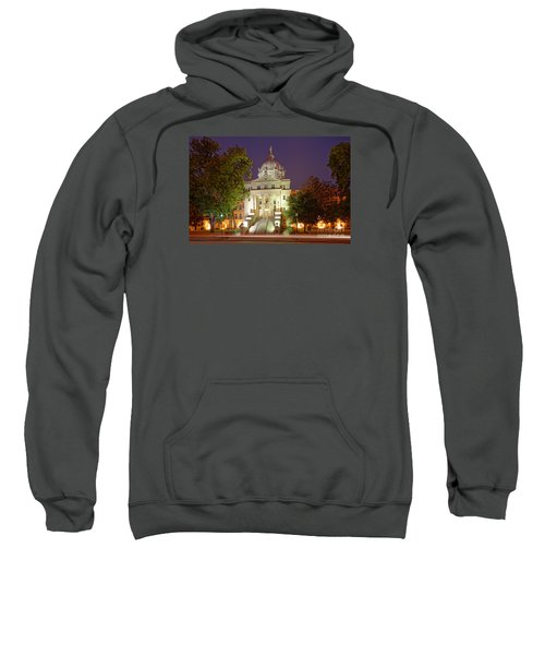 Architectural Photograph Of Mclennan County Courthouse At Dawn - Downtown Waco Central Texas Sweatshirt