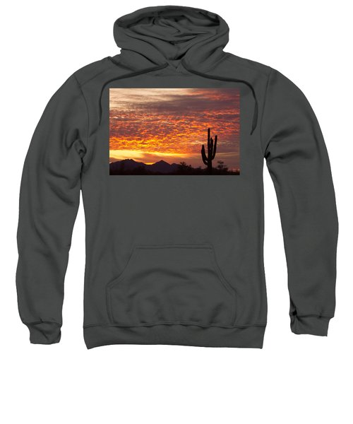 Arizona November Sunrise With Saguaro   Sweatshirt