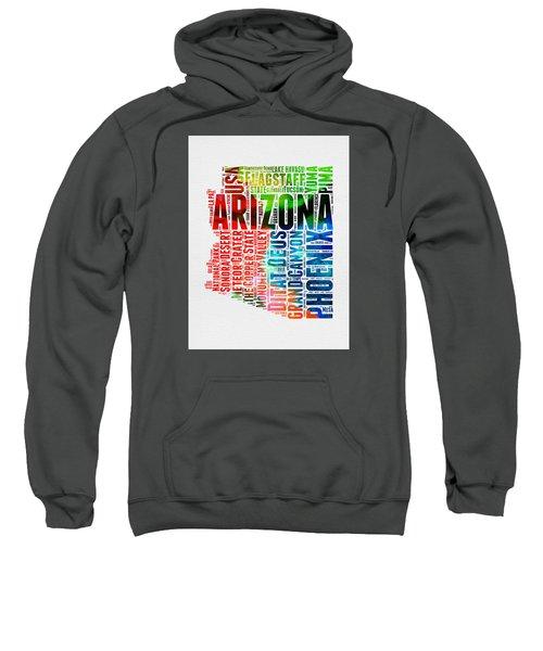 Arizona Watercolor Word Cloud Map  Sweatshirt