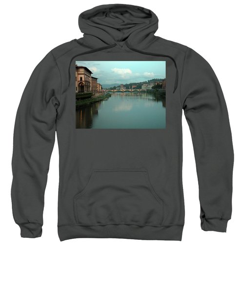 Sweatshirt featuring the photograph Arno River, Florence, Italy by Mark Czerniec