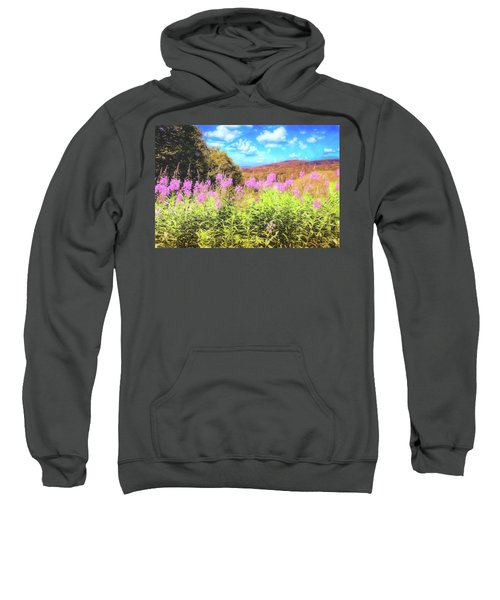 Art Photo Of Vermont Rolling Hills With Pink Flowers In The Foreground Sweatshirt