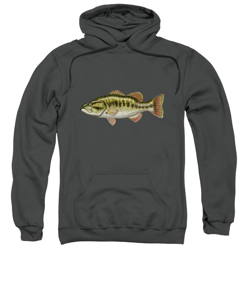 Largemouth Bass On Red Leather Sweatshirt by Serge Averbukh