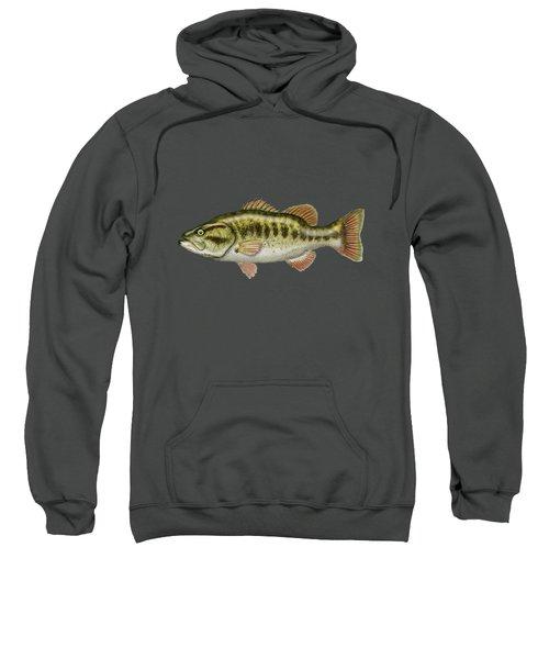 Largemouth Bass On Red Leather Sweatshirt