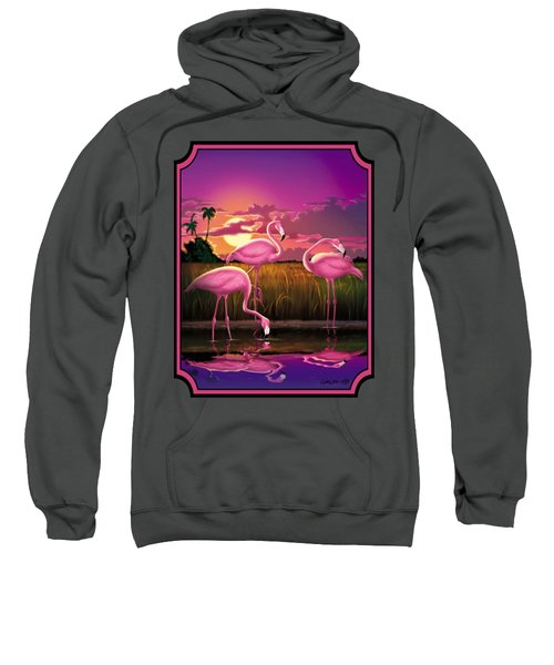 Flamingoes Flamingos Tropical Sunset Landscape Florida Everglades Large Hot Pink Purple Print Sweatshirt by Walt Curlee