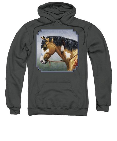 Buckskin Native American War Horse Sweatshirt by Crista Forest