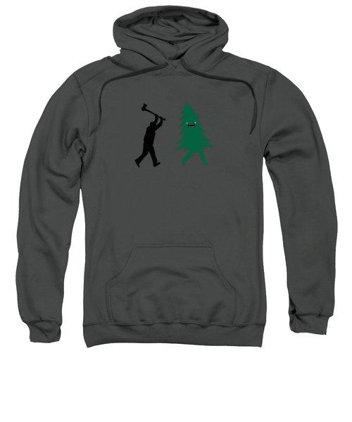 Funny Cartoon Christmas Tree Is Chased By Lumberjack Run Forrest Run Sweatshirt by Philipp Rietz