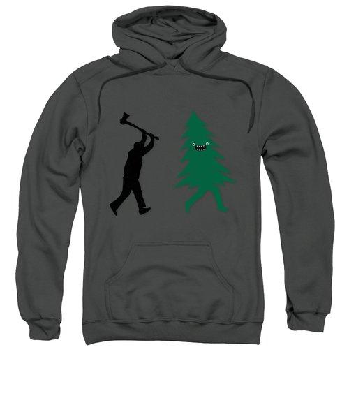 Funny Cartoon Christmas Tree Is Chased By Lumberjack Run Forrest Run Sweatshirt