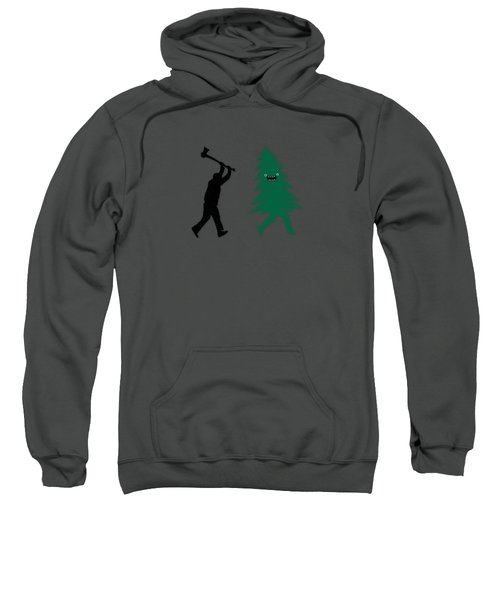Funny Cartoon Christmas Tree Is Chased By Lumberjack Run Forrest Run Sweatshirt