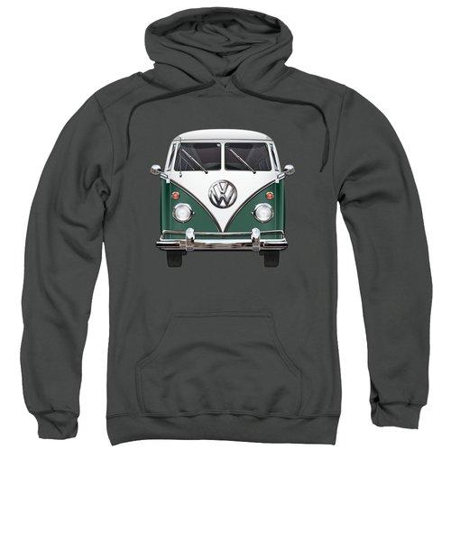 Volkswagen Type 2 - Green And White Volkswagen T 1 Samba Bus Over Red Canvas  Sweatshirt