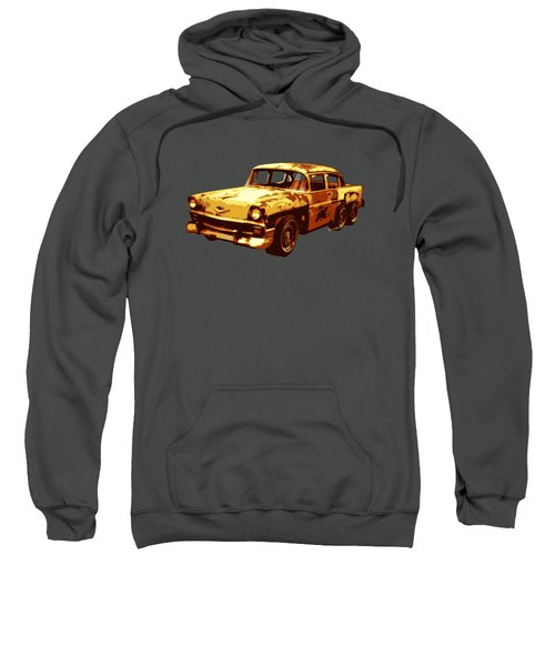 Roadrunner The Snake And The 56 Chevy Rat Rod Sweatshirt by Chas Sinklier