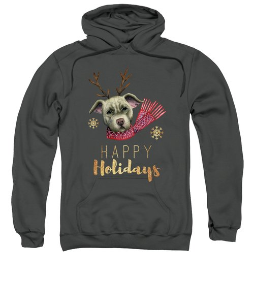 Christmas Reindeer Pit Bull With Faux Gold Fonts Sweatshirt