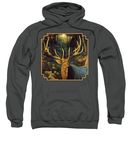 Elk Painting - Autumn Majesty Sweatshirt by Crista Forest