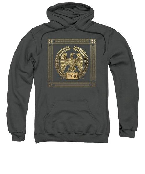 Roman Empire - Gold Imperial Eagle Over Red Velvet Sweatshirt