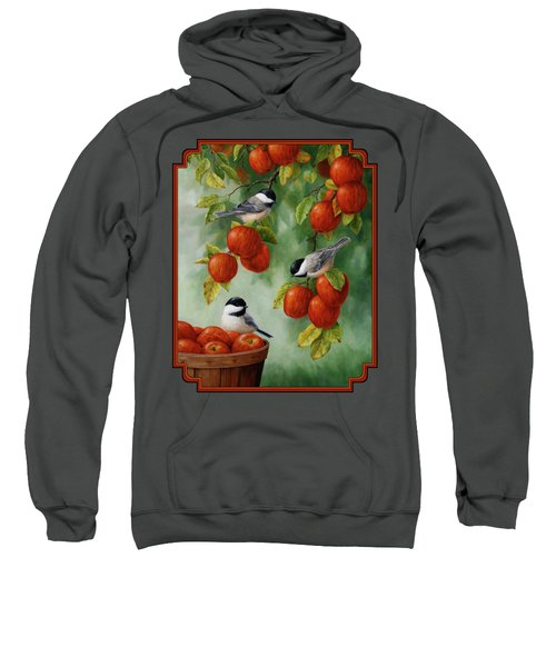 Bird Painting - Apple Harvest Chickadees Sweatshirt by Crista Forest