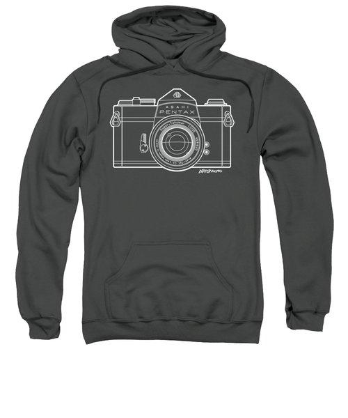 Asahi Pentax 35mm Analog Slr Camera Line Art Graphic White Outline Sweatshirt