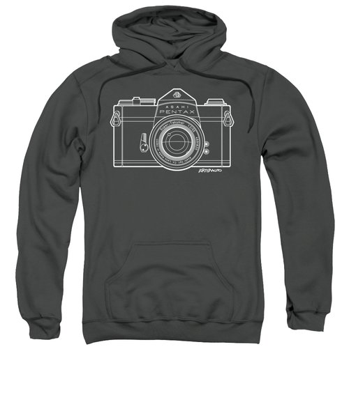 Asahi Pentax 35mm Analog Slr Camera Line Art Graphic White Outline Sweatshirt