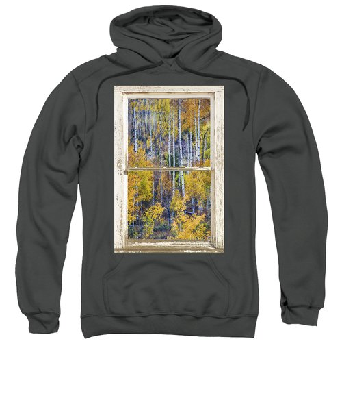 Aspen Tree Magic Cottonwood Pass White Farm House Window Art Sweatshirt