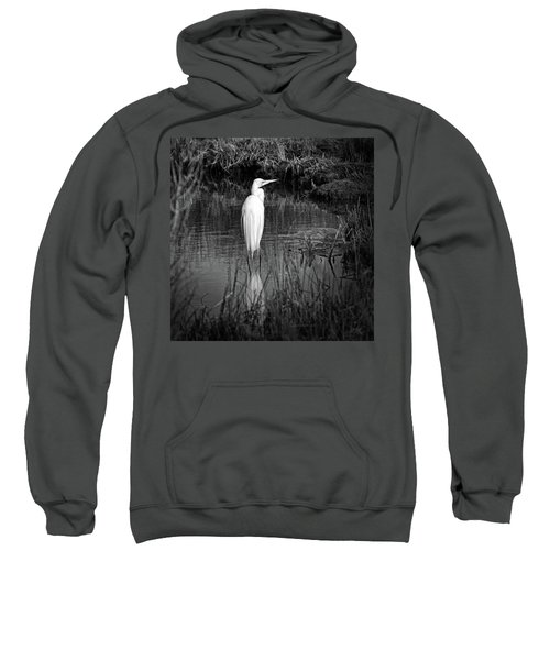Assateague Island Great Egret Ardea Alba In Black And White Sweatshirt