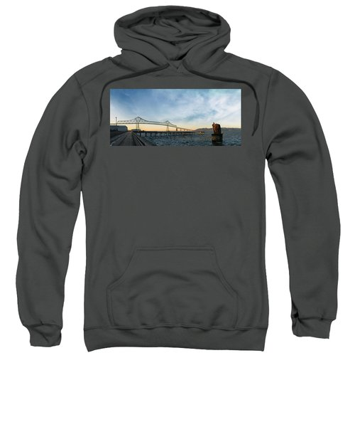 Astoria Megler Bridge By Riverwalk Panorama Sweatshirt