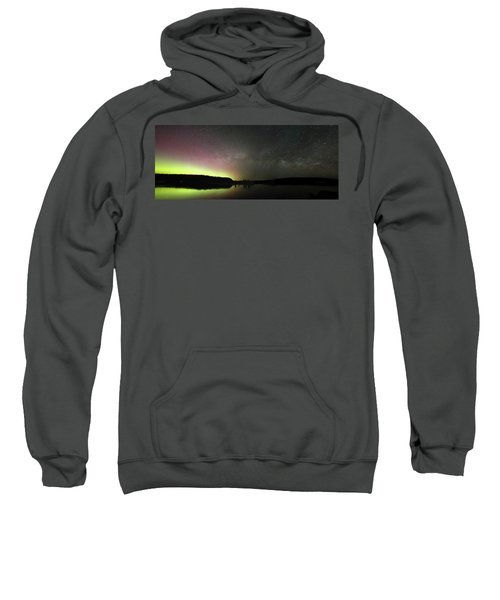 Aurora Borealis And Milky Way Over Yellowstone River Sweatshirt
