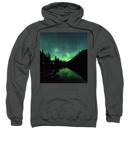 Aurora On Moraine Lake Sweatshirt by Alex Lapidus