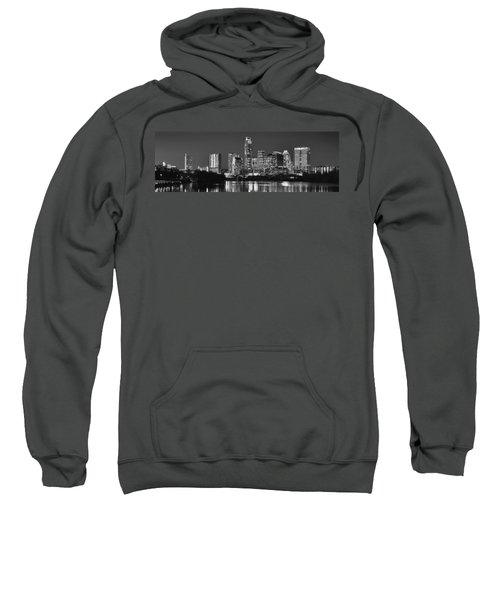 Austin Skyline At Night Black And White Bw Panorama Texas Sweatshirt by Jon Holiday