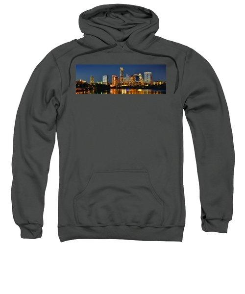 Austin Skyline At Night Color Panorama Texas Sweatshirt by Jon Holiday