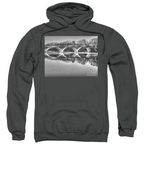 Autumn Bridge Reflections In Black And White Sweatshirt
