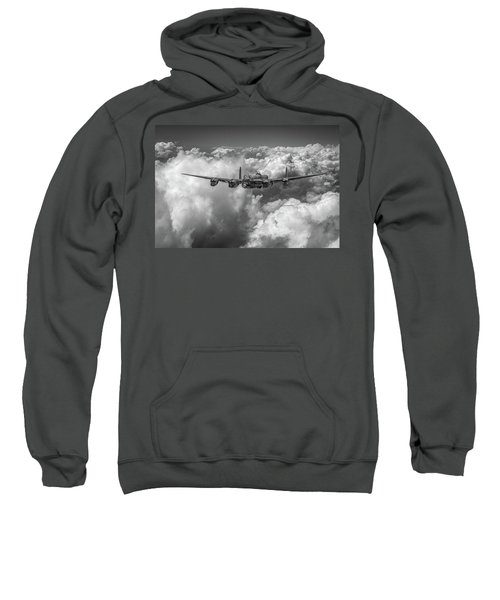 Sweatshirt featuring the photograph Avro Lancaster Above Clouds Bw Version by Gary Eason