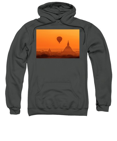Bagan Pagodas And Hot Air Balloon Sweatshirt
