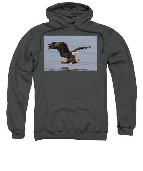 Bald Eagle Diving For Fish In Falling Snow Sweatshirt
