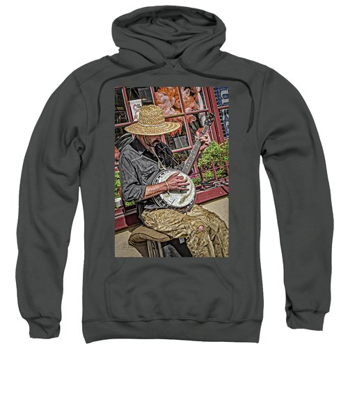 Sweatshirt featuring the photograph Banjo Man Orange by Jim Thompson