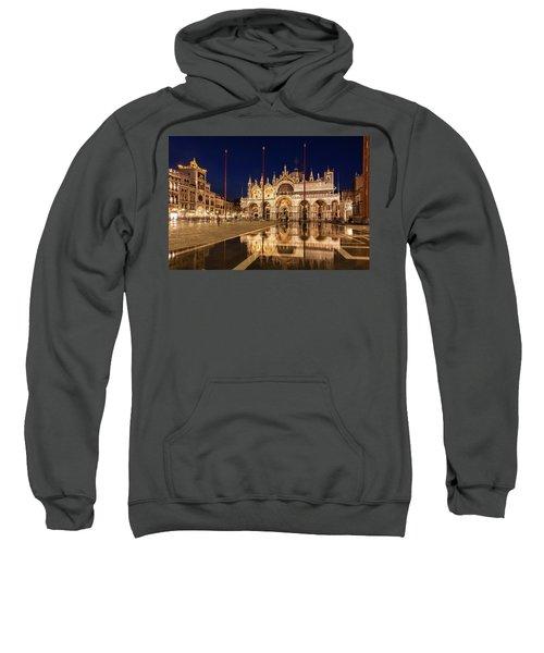 Basilica San Marco Reflections At Night - Venice, Italy Sweatshirt
