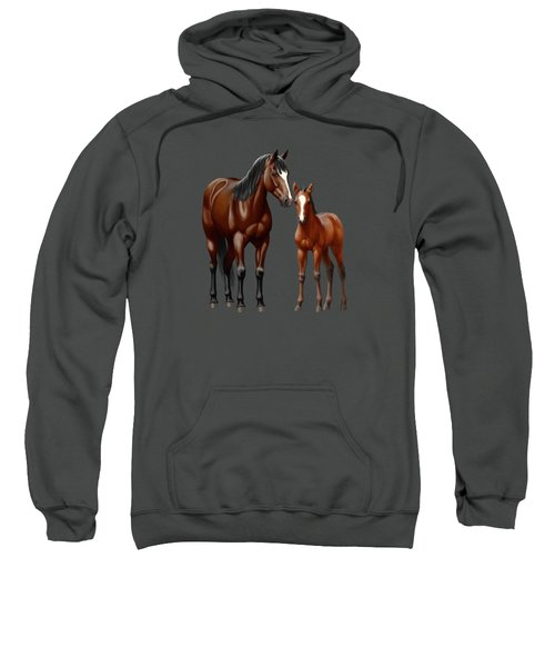 Bay Mare And Foal In Winter Sweatshirt
