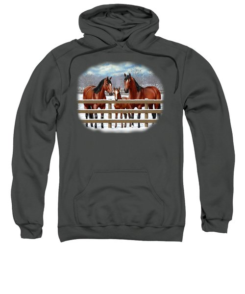 Bay Quarter Horses In Snow Sweatshirt