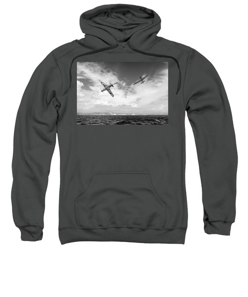 Sweatshirt featuring the photograph Bf109 Down In The Channel Bw Version by Gary Eason