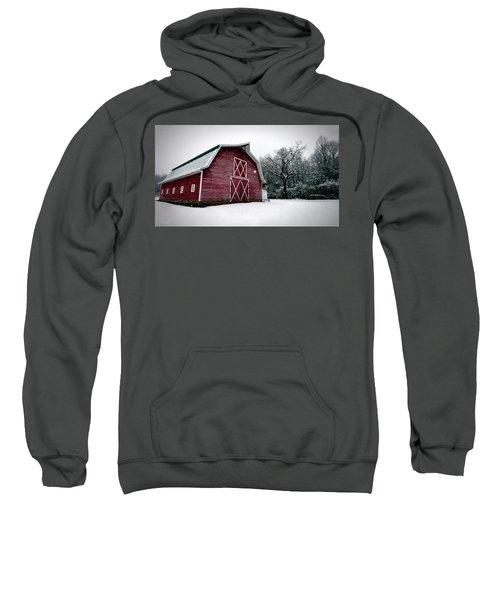 Big Red Barn In Snow Sweatshirt