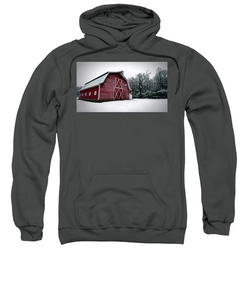 Big Red Barn In Snow Sweatshirt