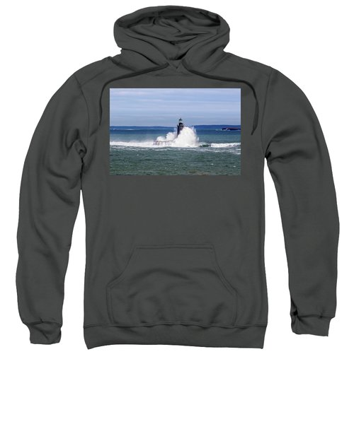 Big Wave Hits Ram Island Ledge Light Sweatshirt