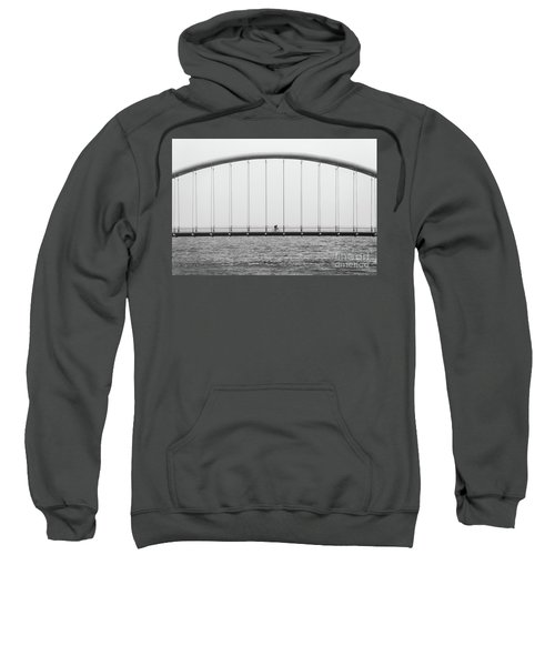 Sweatshirt featuring the photograph Black And White Bridge by MGL Meiklejohn Graphics Licensing