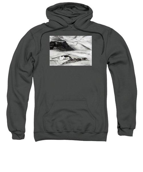 Black And White House And Hills Sweatshirt