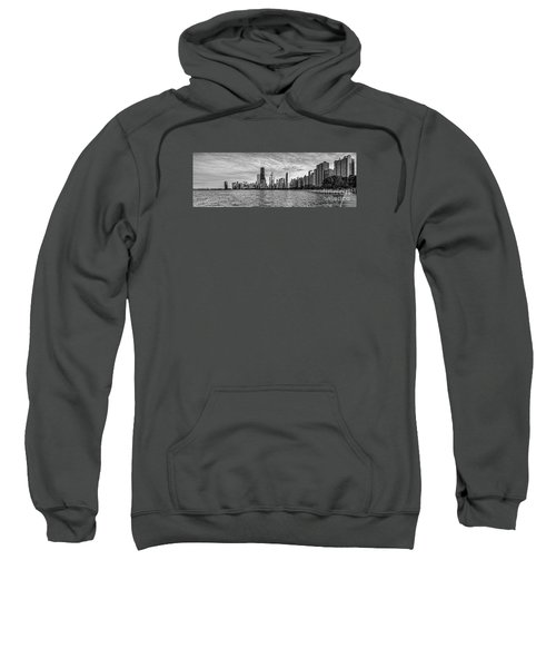 Black And White Panorama Of Chicago From North Avenue Beach Lincoln Park - Chicago Illinois Sweatshirt