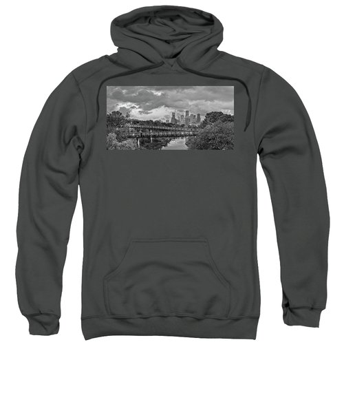 Black And White Panorama Of Downtown Houston And Buffalo Bayou From The Studemont Bridge - Texas Sweatshirt