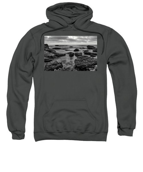 Black And White Sunset At Low Tide Sweatshirt