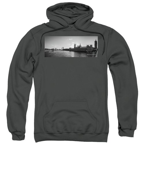 Black And White View Of Thames River And House Of Parlament From Sweatshirt