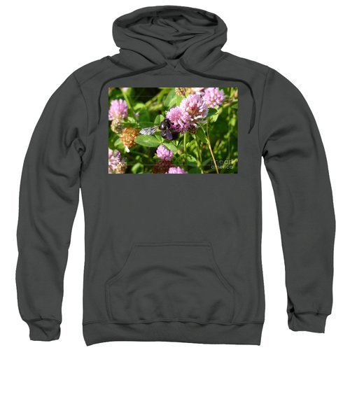 Black Bee On Small Purple Flower Sweatshirt