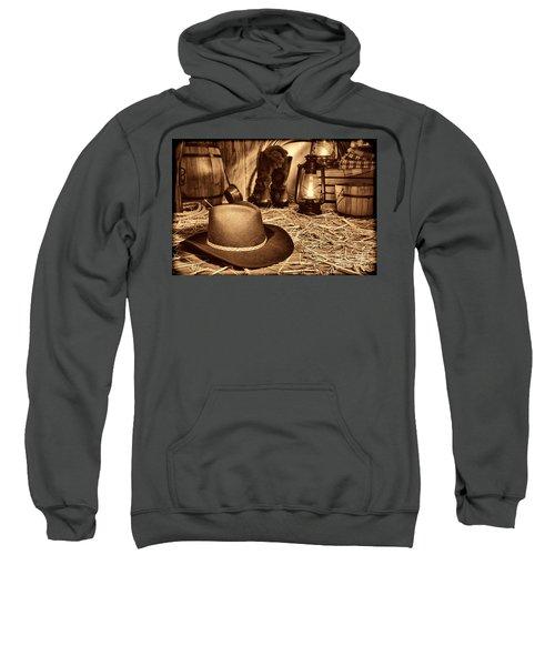 Black Cowboy Hat In An Old Barn Sweatshirt