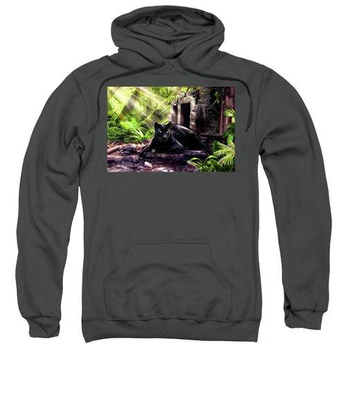 Black Panther Custodian Of Ancient Temple Ruins  Sweatshirt by Regina Femrite