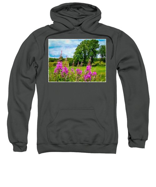 Sweatshirt featuring the digital art Blooming Fireweeds In Summer by James Truett